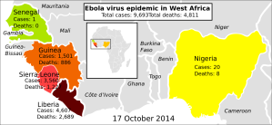 Ebola outbreak map from Wikipedia. Updated as of 17th October 2014