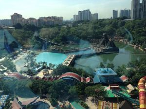 A view of Sunway lagoon, taken from the shopping mall window