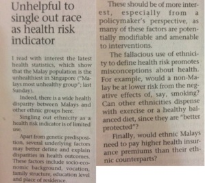 Sunday Times letter 28 Dec 2014 - ethnicity and health