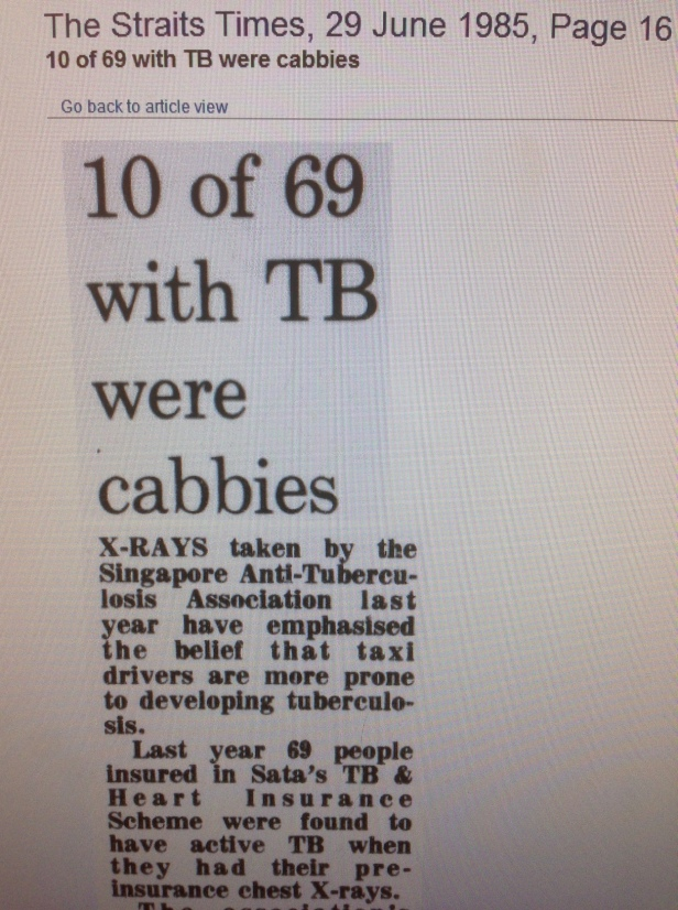1985 again - taxi drivers found to have higher rates of tuberculosis (I don't think this was ever published). There's a legacy policy however - shown in the next image.