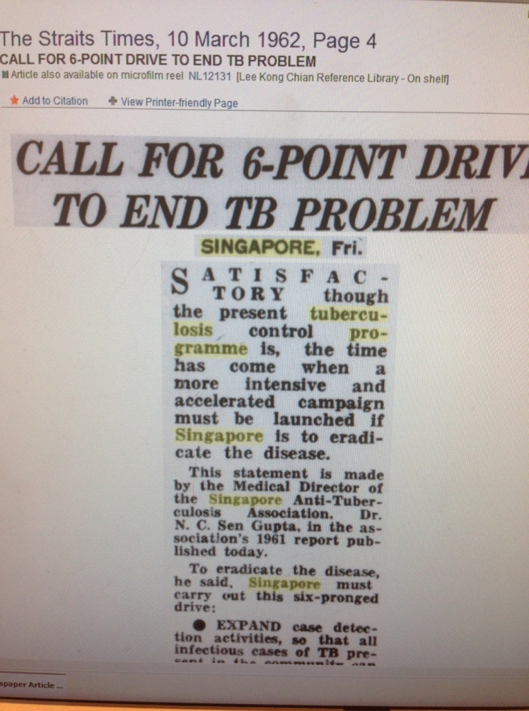 In 1962, a 6-point plan to reduce TB rates in Singapore, including expanded screening, BCG vaccination, and drug therapy for patients with active tuberculosis.
