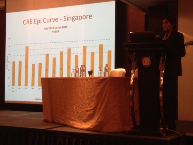 Dr. Indumathi describing the CRE epidemic in Singaporean hospitals.
