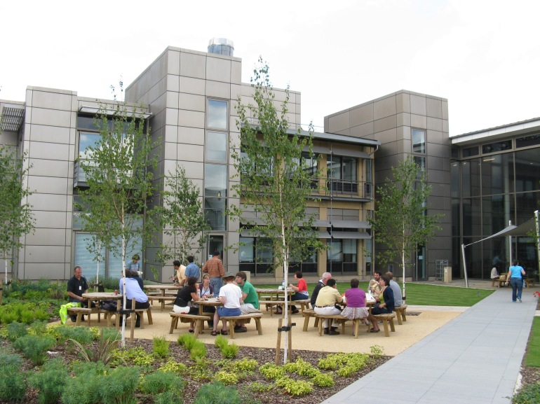 The Wellcome Trust Sanger Institute at Hinxton, UK. It is pleasant to sit outside the building in spring, discussing both work and non-work-related stuff.