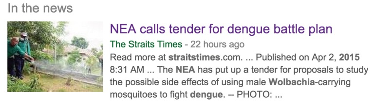 Screen capture: NEA calls for proposals to study the effects of Wolbachia-carrying male mosquitoes in Singapore.