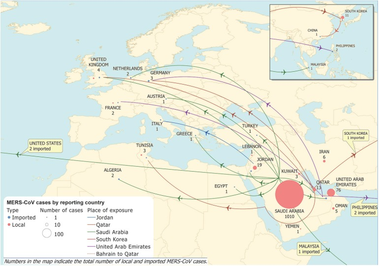 Map of confirmed MERS-CoV cases and probable origin of infection, as on 29th May 2015. This map was produced by the ECDC and published in their epidemiological update on 30th May 2015.