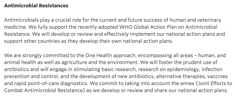 Declaration on antimicrobial resistance at the G-7 Leaders' Summit in Germany, June 2015.