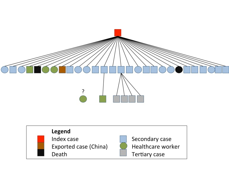 Approximate transmission tree for the South Korean MERS-CoV outbreak. The source of infection for one healthcare worker was not identifiable based on online reports.