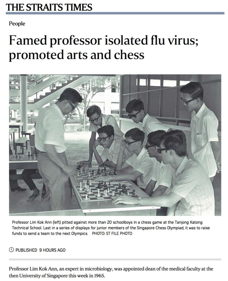 Prof. Lim Kok Ann in the Straits Times, 30th August 2015.