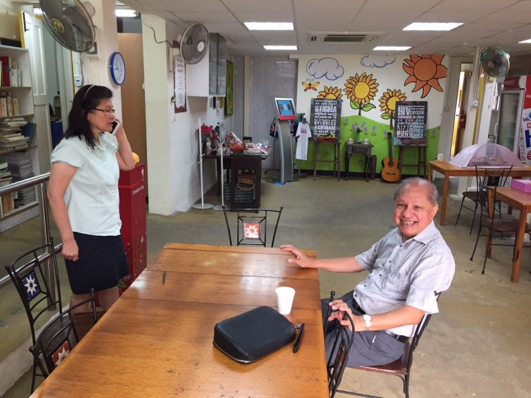 Past and present at the Patient Care Centre at CDC - Dr. Edmund Monteiro, former CDC director, with Prof. Leo Yee Sin, current CDC director.