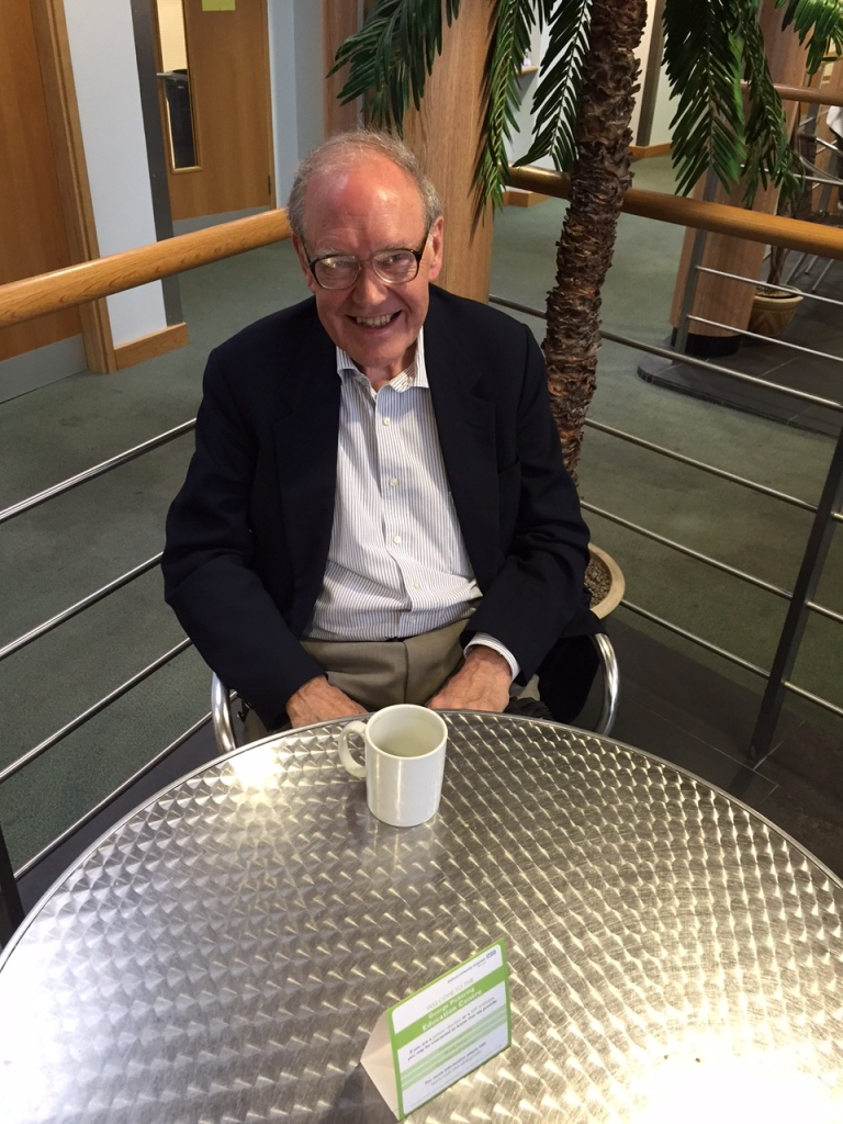 Professor David Warrell at the cafe in John Radcliffe Hospital.